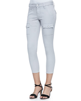 So Real Cropped Stretch-Twill Pants, Light Smoke