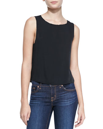 Slit-Back Sleeveless Top