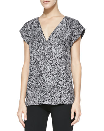 Kally Marble-Print Georgette Top