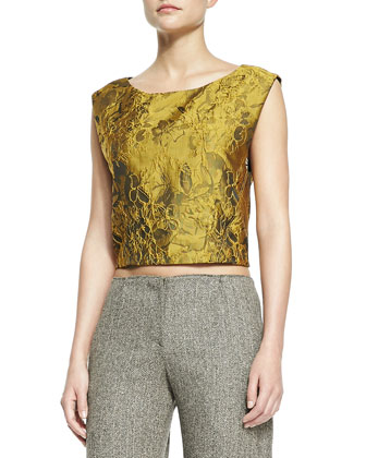 Cierra Jacquard Diagonal-Seam Top