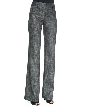 Paperback Wide-Leg Patterned Suit Pants
