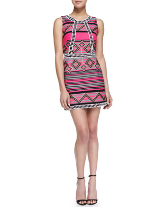 Diamond Striped Jacquard Mini Dress