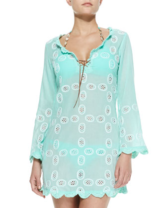Scallop-Trim Eyelet/Voile Coverup