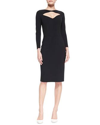 Long-Sleeve Open-Neck Cocktail Dress