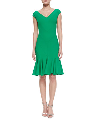 Margherita V-Neck Godet Cocktail Dress