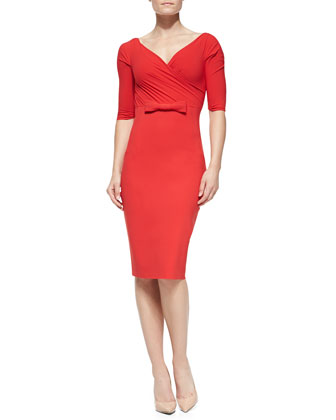 Giordana Half-Sleeve Dress with Center Bow Detail