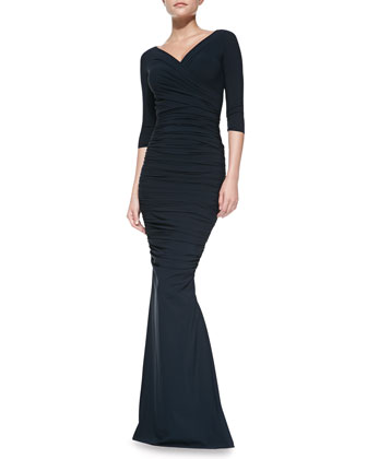 Marielena 3/4-Sleeve Long Dress, Navy