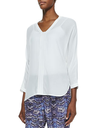 Gauze Split-Neck Top, White
