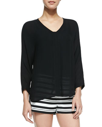 Gauze Split-Neck Top, Black