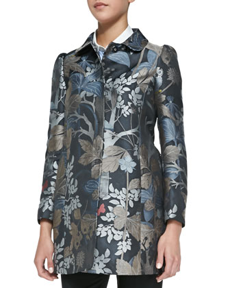 Wooded Forest Jacquard Topper Coat, Slate