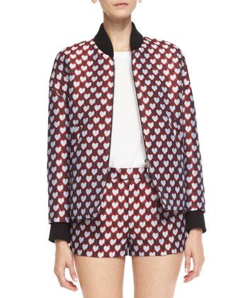 Jacquard Heart-Print Bomber Jacket