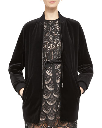 Long Stretch-Velvet Bomber Jacket