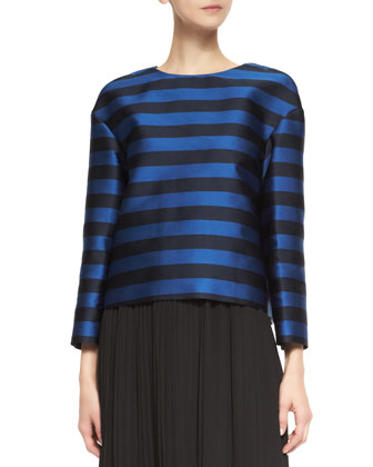 Long-Sleeve Striped Mikado Top