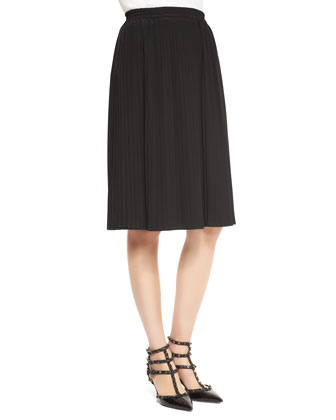 Pliss??-Pleated Silk Skirt