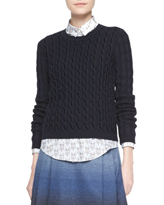 Long-Sleeve Velvet Cable Sweater