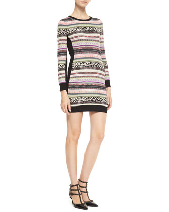 Mixed-Striped Knit Dress