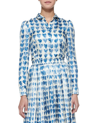 Scribbled Heart-Print Shirt, Cobalt