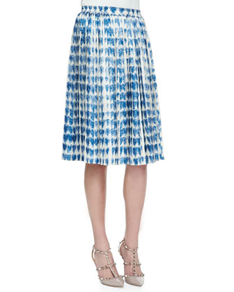 Plisse Pleated Scribbled Heart-Print Skirt