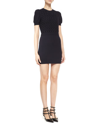 Short-Sleeve Cable-Front Knit Dress