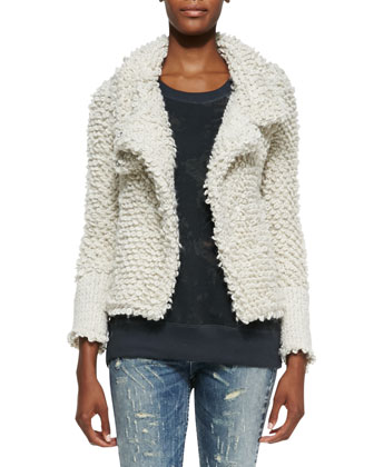 Caty Looped-Knit Sweater Jacket