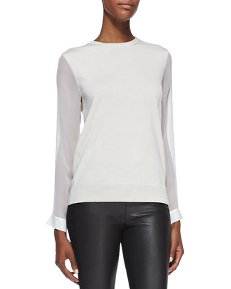 Masha Silk-Sleeve Wool Sweater