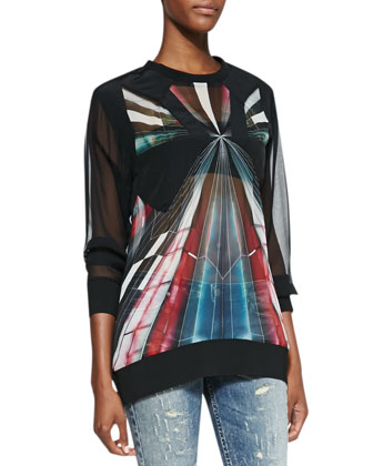 Long-Sleeve Sheer Graphic-Print Top