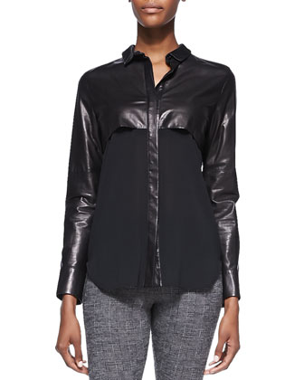 Barper Leather-Top Silk Blouse