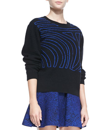 Fingerprint Wool Crewneck Sweater