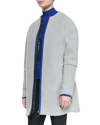 Front-Zip Collarless Scuba Coat