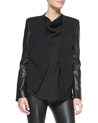 Leather-Sleeve Wool Tuxedo Jacket