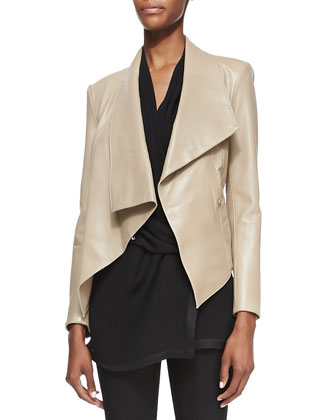 Draped Lambskin Hook Jacket, Field
