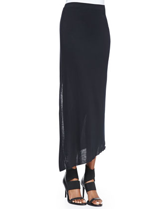 Kinetic Jersey Long Wrap Skirt, Black