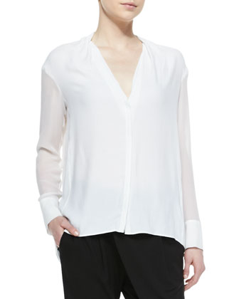 Morse Sheer-Sleeve Blouse
