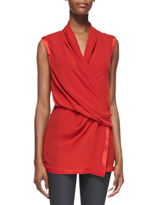 Pebbled Satin-Trim Draped Top