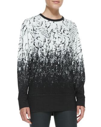 Printed Long-Sleeve Knit Top