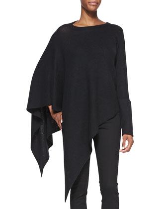 Soft Blend Knit Poncho, Black