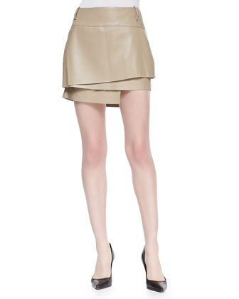 Layered Leather Miniskirt