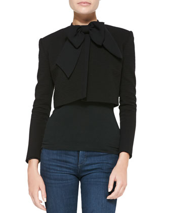 Cropped Bow-Neck Textured Cropped Jacket