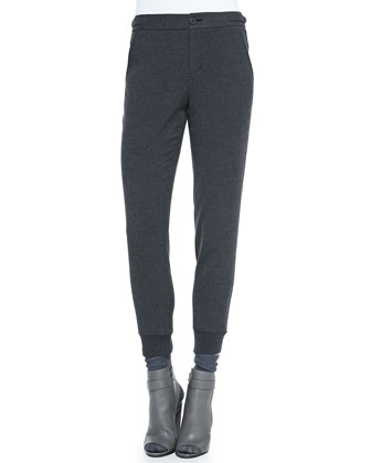 Ribbed-Cuff Tapered Trousers