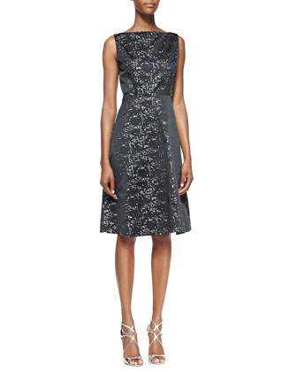 Sleeveless Metallic & Black Taffeta A-Line Cocktail Dress