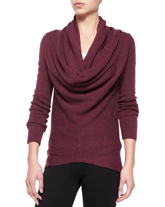 Waffle-Knit Sweater with Draped Front, Maroon