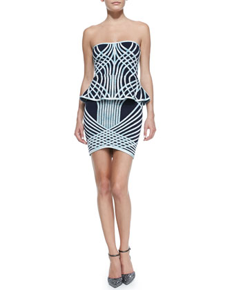 Annette Optic Crisscross-Print Strapless Bandage Dress