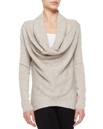 Waffle-Knit Sweater with Draped Front, Almondine
