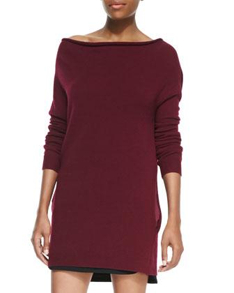 Roll-Neck Slim Cashmere Sweaterdress