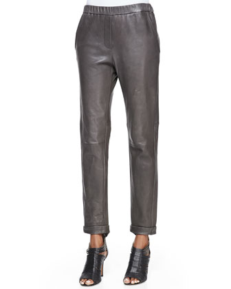 Tapered Slim Leather Pants