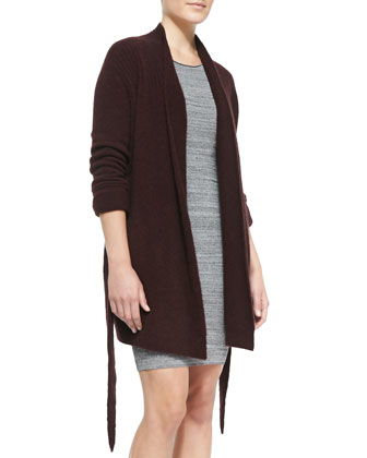 Open-Front Knit Tie Cardigan