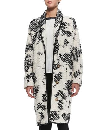 Crochet Two-Tone Coat, Ivory/Black