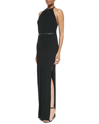 Jersey Gathered-Neck Back-Drape Gown