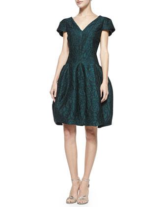Lace V-Neck Tulip-Skirt Dress