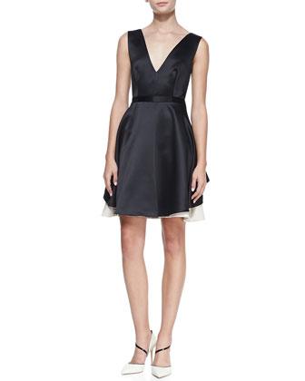 Satin Colorblock V-Neck Dress, Black/Champagne